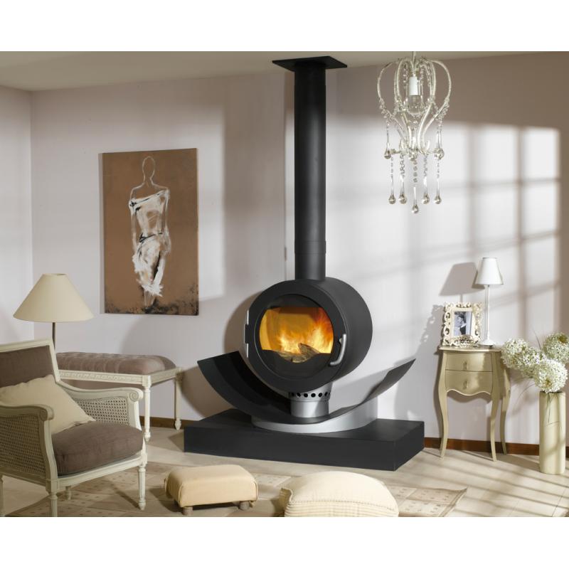 Poêle GODIN à bois Le Maltara 373121 Peint anthracite, verre et inox