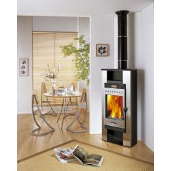 Poêle GODIN à bois Le Sablon 371112 Peint anthracite et décor gris alu