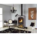 Poêle GODIN à bois Le Rosemont Peint anthracite avec décor gris alu