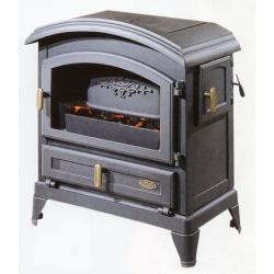 Poêle GODIN à bois Le Petit Carvin 366124 peint anthracite sur socle avec porte chapelle