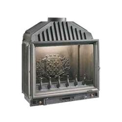Poêle GODIN à bois Palerme 369098 façade noire et côtés gris alu