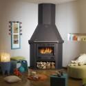 Poêle GODIN à bois et charbon Ventoux 3242 décor acier émaillé galbé
