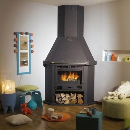 Poêle à bois et charbon Ventoux 3242 décor acier émaillé galbé